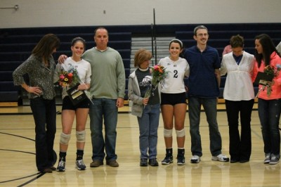 Senior volleyball players recognized at Senior Night