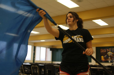Seniors participate in winter guard team