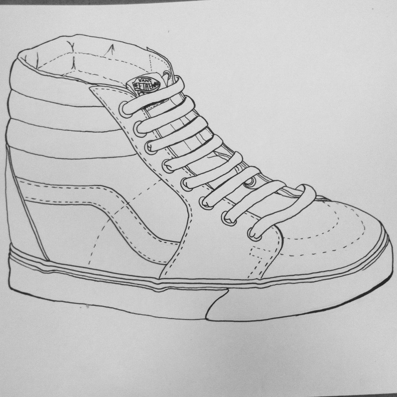 Tennis Shoe Drawing Contour drawing of a shoe