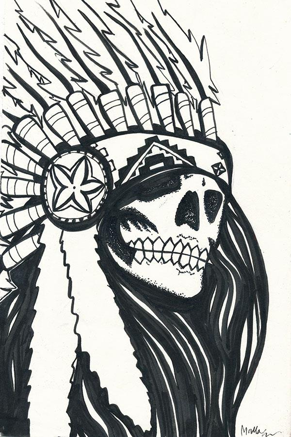 Native American Wolf Headdress Drawing
