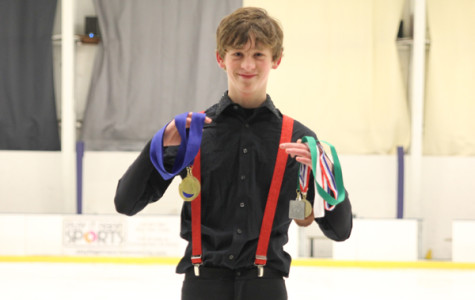Freshman ice skater performs in competitions