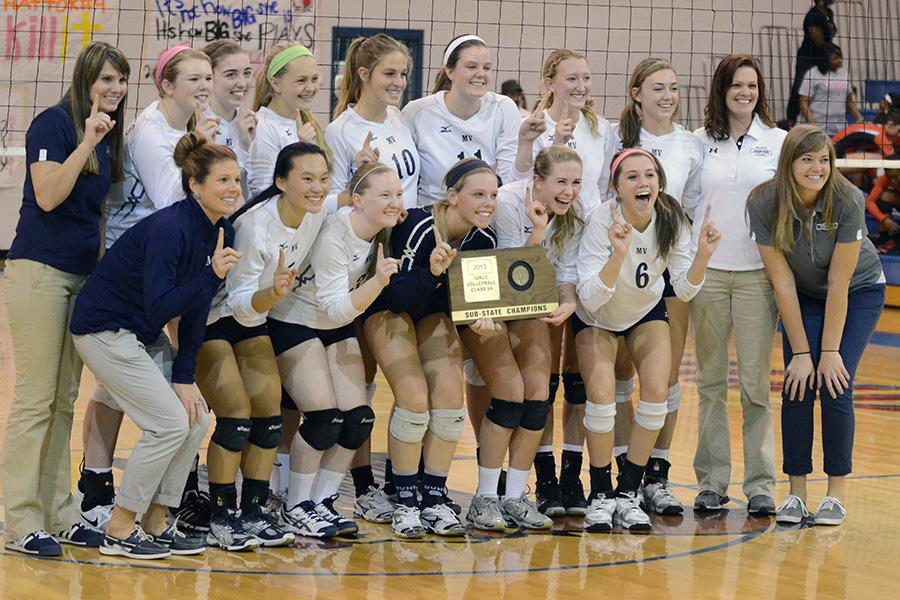 The volleyball team poses with its substate trophy on Saturday, Oct. 26.