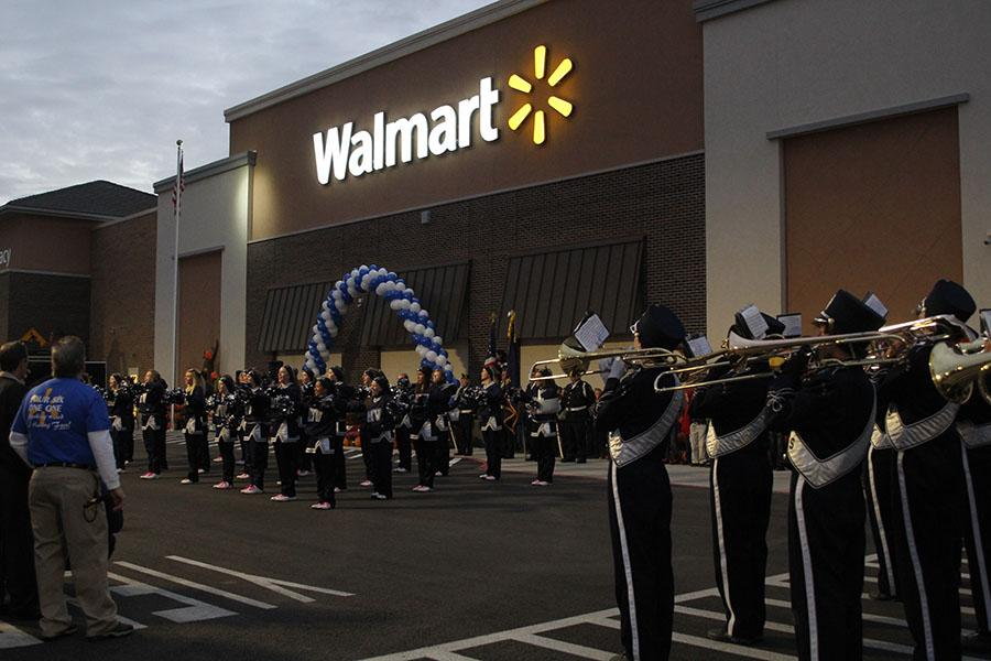 The+band+and+cheerleaders+perform+at+the+Wal-Mart+grand+opening+on+Wednesday%2C+Oct.+23.