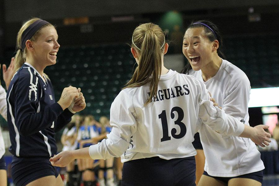The+Jags+earned+their+first+win+at+the+state+tournament+by+beating+Bishop+Carroll+in+two+sets+on+Friday%2C+Nov.+1