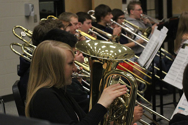 Junior Kate Schau plays her Euphonium in band class Friday, Nov. 22. Schau qualified to play in the KMEA district band on Saturday, December 7.