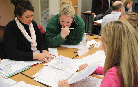 District Boundary committee members go over the possible boundary changes for next year at the committee meeting on Thursday, Dec. 5.