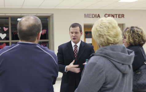 Superintendent Dr. Doug Sumner discusses different boundary options with patrons at one of two public forums on Wednesday, Jan. 22
