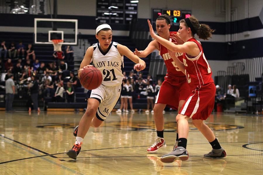 The Lady Jaguar basketball team lost 24-39 to Tonganoxie on Tuesday, Feb. 25.