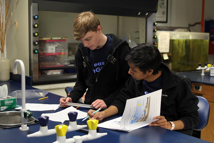 Senior+Chase+Oswald+and+sophomore+Rohit+Biswas+competed+in+their+Science+Olympiad+event%2C+Water+Quality%2C+on+Saturday+Feb.+22.+