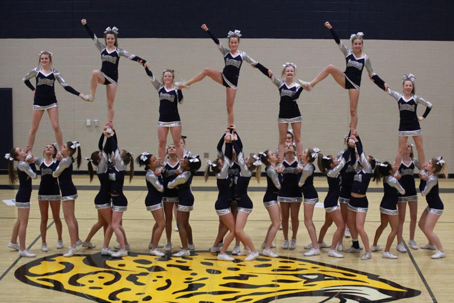 Mill Valley Cheerleaders perform their competition routine at the Cheer Showcase on Friday, March 7.