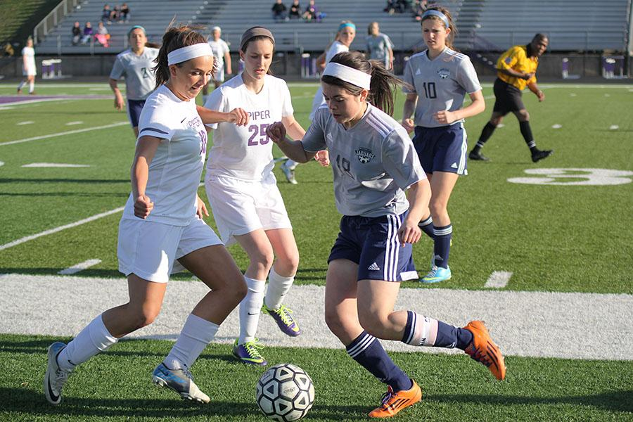 The girls soccer team fell to the Piper Pirates, 2-1, on Thursday, April 10.