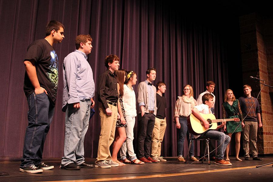 As+part+of+the+finale%2C+talent+show+participants+gather+around+freshman+Sam+Lopez+and+sing.+%22I%27m++pretty+happy+with+how+it+went.+I+felt+pretty+good%2C%22+Weinert+said.+%22It%27s+always+fun+to+perform+for+people%2C+it%27s+exciting.%22+