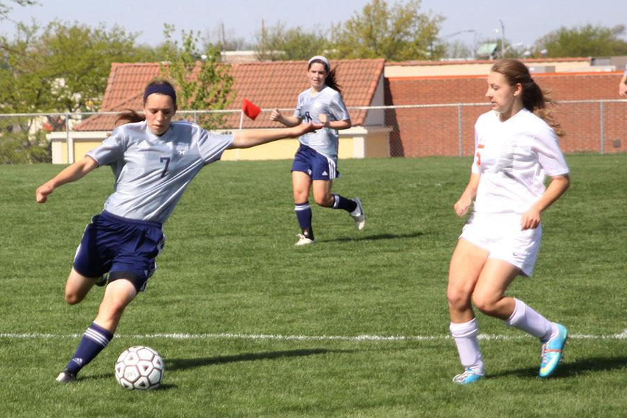 The+girls+soccer+team+competed+again+the+Shawnee+Mission+Northwest+Cougars+and+fell+3-0+on+Saturday%2C+May+3.+