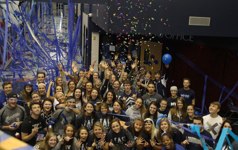Per tradition, seniors decorate the school, creating the Blue Bomb on the morning of Friday, Oct. 10.
