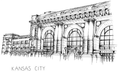 Drawing of Union Station in downtown Kansas City, Missouri using pen and ink.