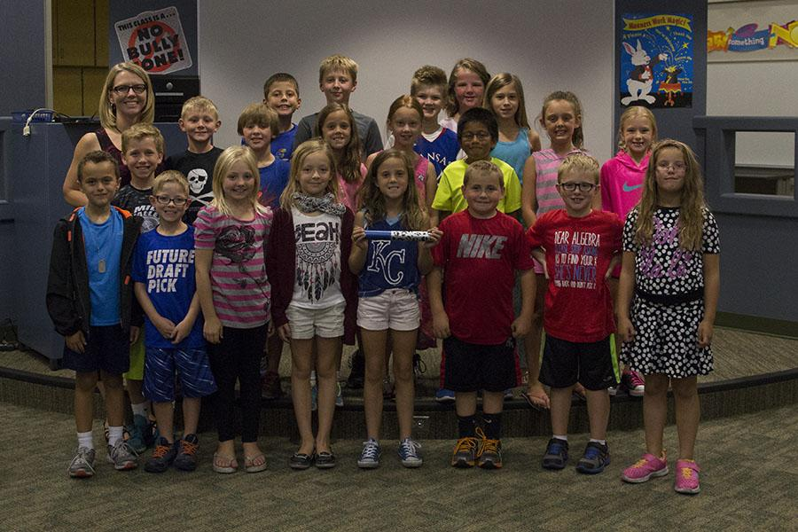 Students in Kelly Margheim's third grade class show their excitement on Tuesday, Sept. 15 after winning the spirit stick.