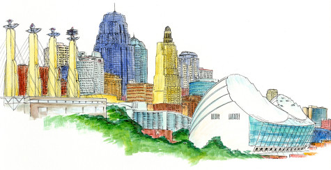 Kansas City skyline done with pen, ink and watercolor.