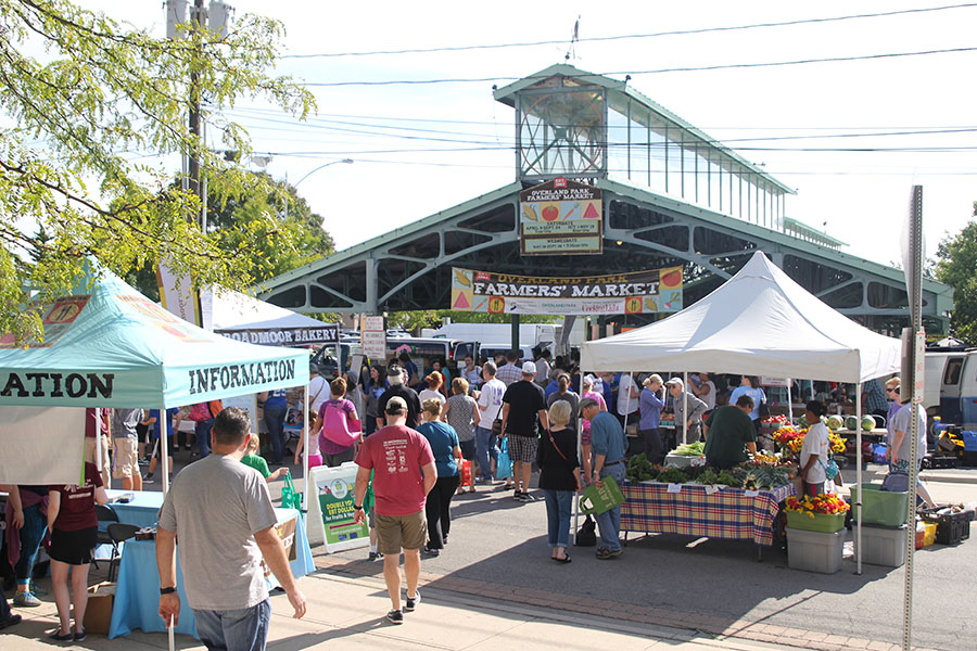 The Overland Park farmer's market bustles with activity on Sunday, Sept. 4.