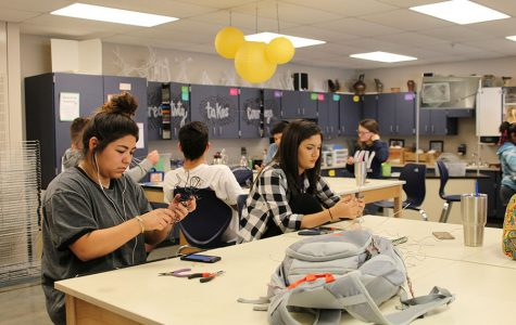 Seniors Alina Ruiz-Garcia and Natalie Carerra try to make their sculptures more stable on Tuesday, Oct. 25.