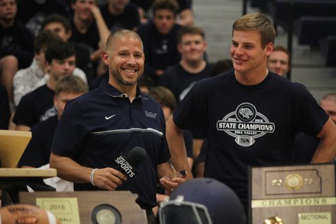 Two-time state championship team recognized at pep assembly