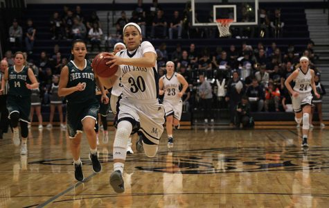 Sprinting ahead of everyone else, senior Elena Artis receives the ball and prepares to dribble.