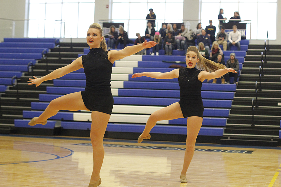 During+the+junior+duet%2C+juniors+Emmy+Bidnick+and+Abby+Sutton+hit+their+pirouettes.+Sutton+also+placed+10th+in+the+junior+solo+division.