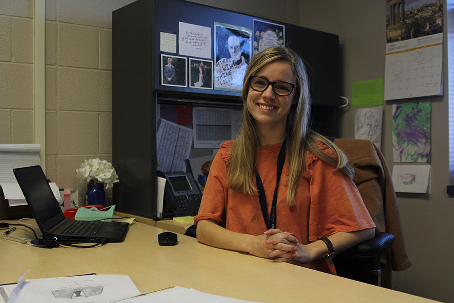 English teacher Heathyr Shaw smiles at her desk after receiving the Kansas Horizon Award on Tuesday Jan. 10.