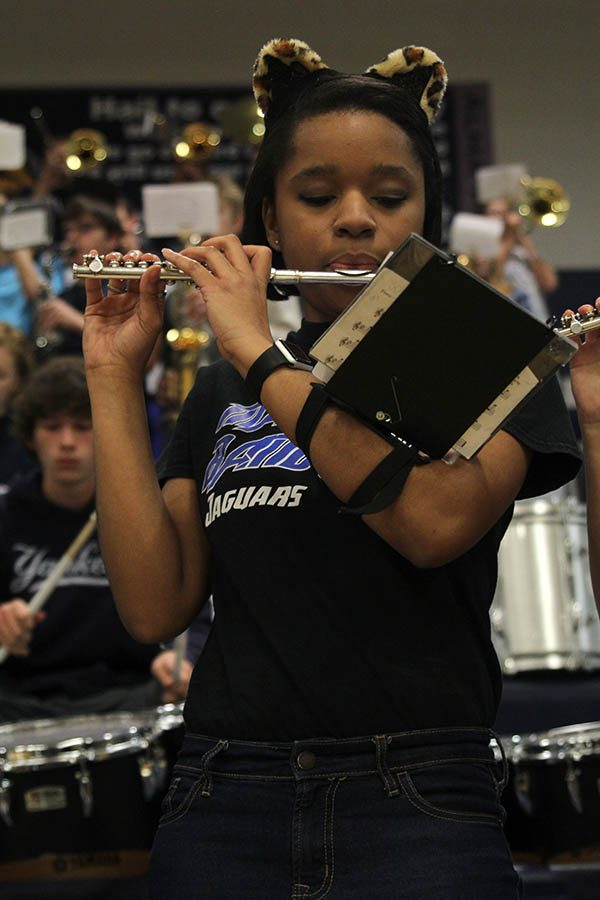 Playing+with+the+pep+band%2C+senior+Jayna+Smith+performs+on+the+piccolo.+