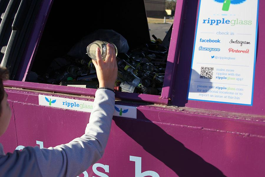 As a result of most waste management services in the area not accepting glass, there is a Ripple Glass recycling bin in the Price Chopper parking lot to make recycling glass more efficient.