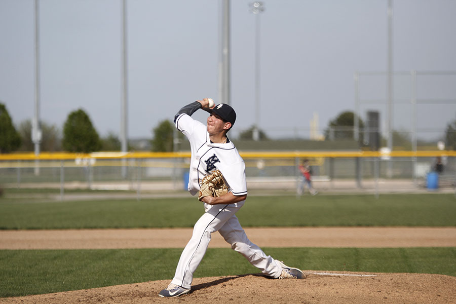 On Tuesday April, 18, senior Jack Blancarte throws out a pitch. The baseball team won against Bishop Meige 9-4.