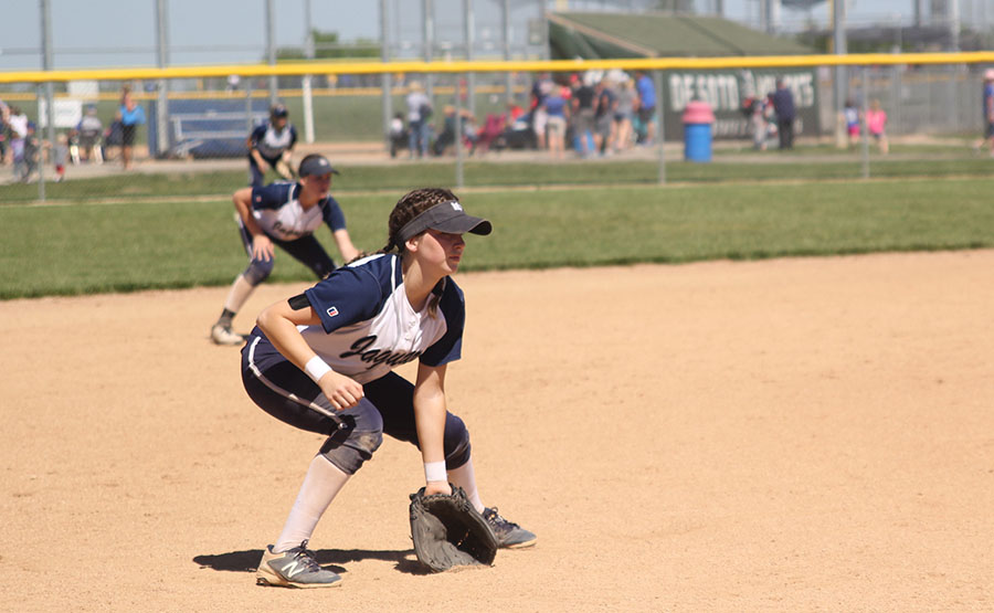 As+the+pitch+is+made%2C+sophomore+Grace+Lovett+prepares+for+the+ball+to+come+to+her.+