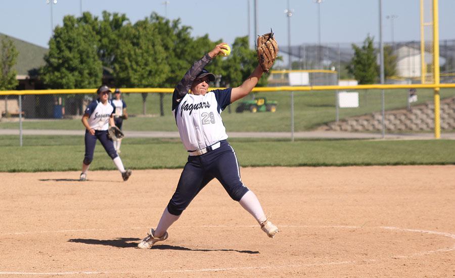 Freshman+Jessica+Garcia+throws+a+strike+toward+the+end+of+the+first+game.+