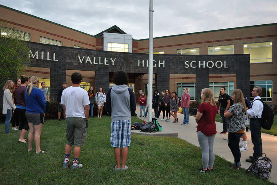 Before school on the morning of Wednesday Sept. 27, students and teachers gathered around the flag to celebrate pray during the annual See You at the Pole event.