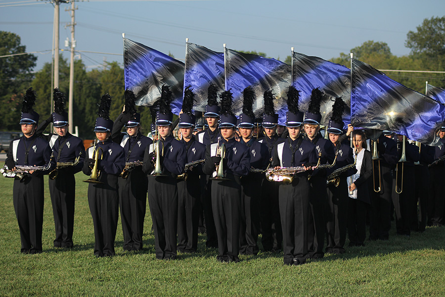 The+marching+band+in+formation+prepares+to+perform+at+Bonner+Springs+High+School+on+Thursday%2C+Sept.+21.