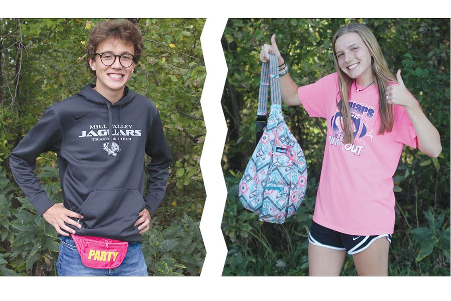 As+phones+become+larger+and+pockets+become+smaller%2C+students+find+alternative+sources+for+their+everyday+storage.+While+Senior+Brady+%0AWatkins+shows+off+his+fanny+pack%2C+senior+Kendall+Gaignat+displays+her+KAVU+bag.+Photo+illustration