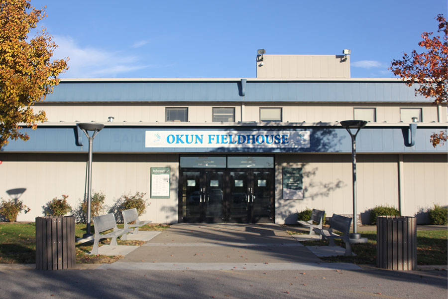 Built in 1999, Okun Fieldhouse features four basketball courts and eight volleyball courts. The facility provides many opportunities for people in the community.