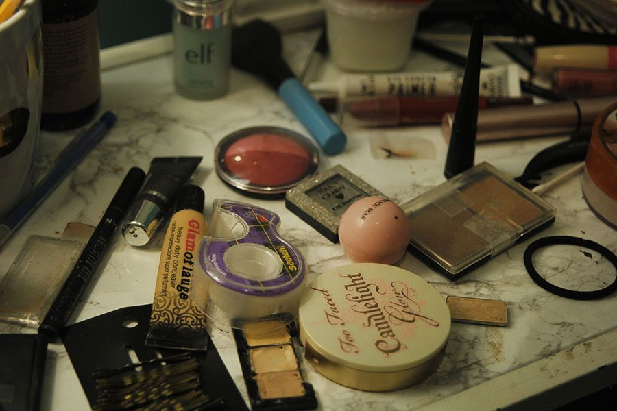Sophomore Kara Pojes marble-topped vanity is veiled in her many beauty products.