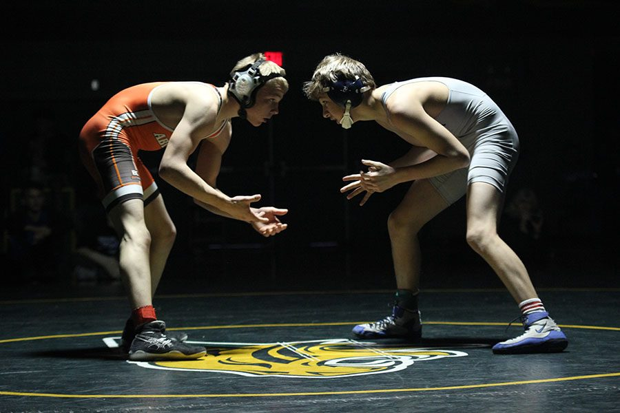 During+the+final+match+for+the+113+weight+class%2C+sophomore+Austin+Keal+looks+at+his+opponent+as+he+prepares+to+wrestle+at+the+Bobcat+Classic+on+Saturday%2C+Jan.+13.