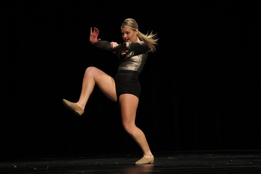 Dancing+to+%22Believer%2C%22+senior+Emmy+Bidnick+performs+her+solo.