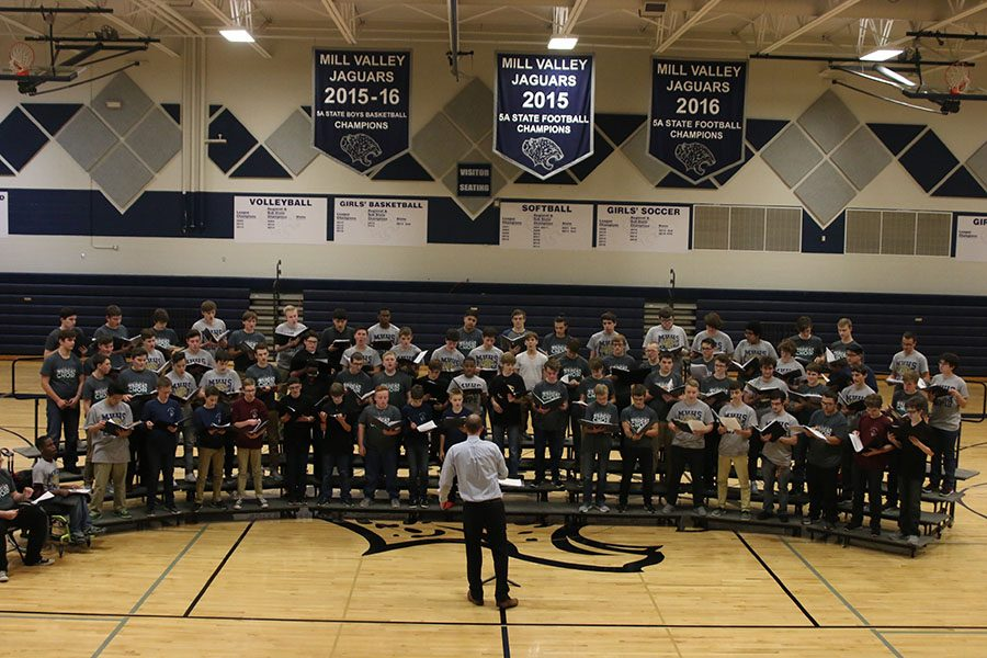 Gathered+in+the+gymnasium+on+Monday%2C+Jan.+8%2C+students+in+the+USD+232+school+district+sing+together+during+a+tenor%2Fbass+choral+festival.