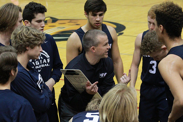 Head+coach+Michael+Bennett+strategizes+to+make+a+comeback+during+a+30+second+timeout+at+the+end+of+the+game+on+Friday%2C+Jan.+12.