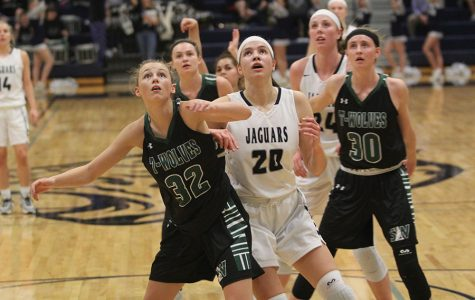 Looking up anxiously, junior Trinity Knapp waits to see if the ball will make it in the basket. The Lady Jags beat the BVSouthwest Timberwolves 53-39 on Tuesday, Jan. 30.