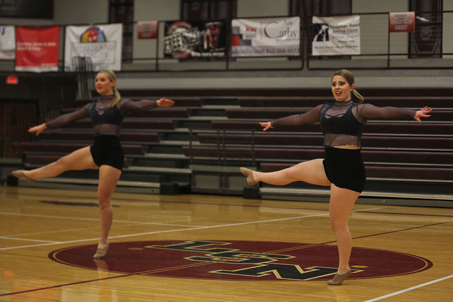 Seniors+Emmy+Bidnick+and+Emma+Barge+compete+in+their+duet%2C+which+placed+15th+in+the+senior+division.+Both+girls+also+placed+11th+and+12th+in+their+individual+solos.