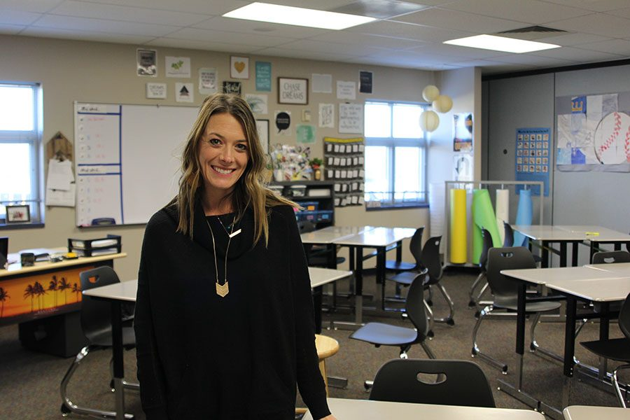 Math+teacher+Sarah+Sides+takes+photos+for+her+daily+fashion+blog+in+her+classroom.+She+poses+in+her+favorite+outfit+and+then+puts+the+photo+with+information+about+the+clothing+on+each+post.