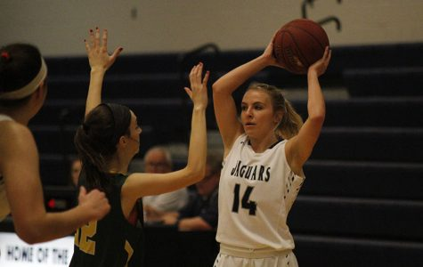 Senior Adde Hinkle grasps the ball above her head to look for an open teammate, on Monday, Jan. 22. The girls won against the Raiders, 54-40.