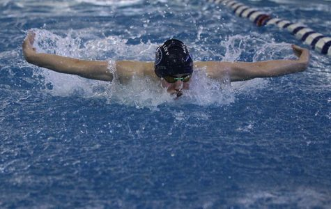 Junior Chris Sprenger swims the Butterfly portion of his 200 individual medley on Saturday, Feb. 17.