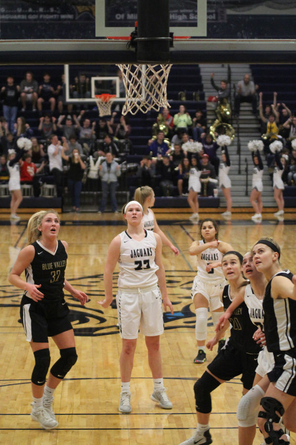 After+being+fouled%2C+junior+Claire+Kaifes+watches+her+second+free+throw.++++