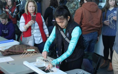 Engineering students attend bridge building competition as an extension to class