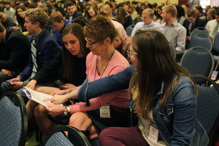 On the first day of DECA State, senior Hailey Stelle and DECA sponsors Dianna Heffernon-Meyers and Nicole Porter talk about the schedule.