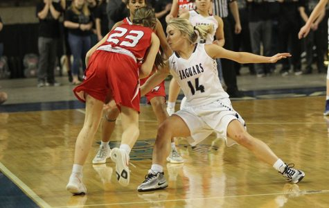 Playing defense, senior Adde Hinkle reaches in front of a Maize player to steal the ball.